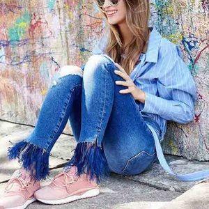 Frame Le Skinny De Jeanne Feather Fringe Jeans